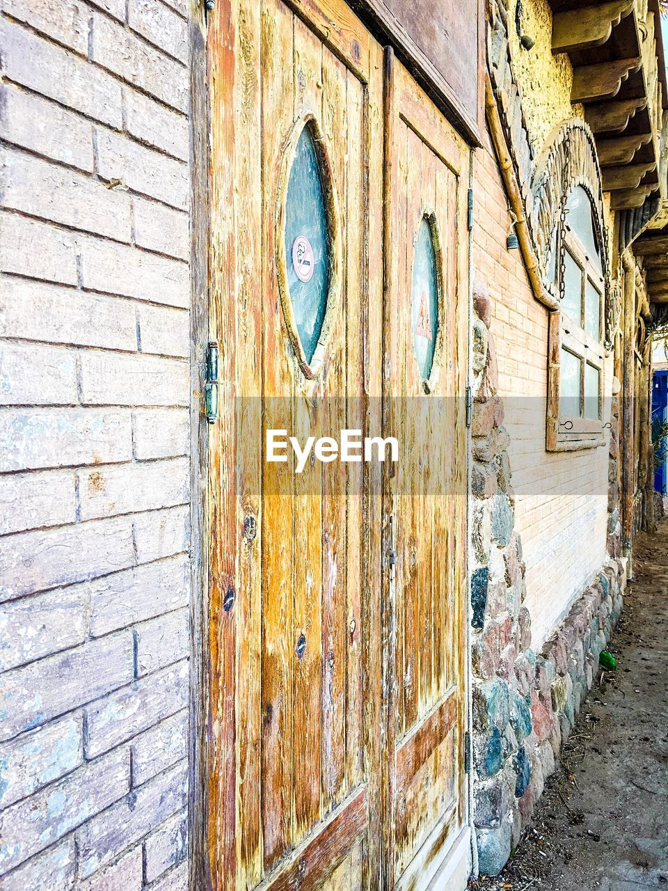 door, built structure, wood - material, architecture, outdoors, day, building exterior, no people, full frame, close-up