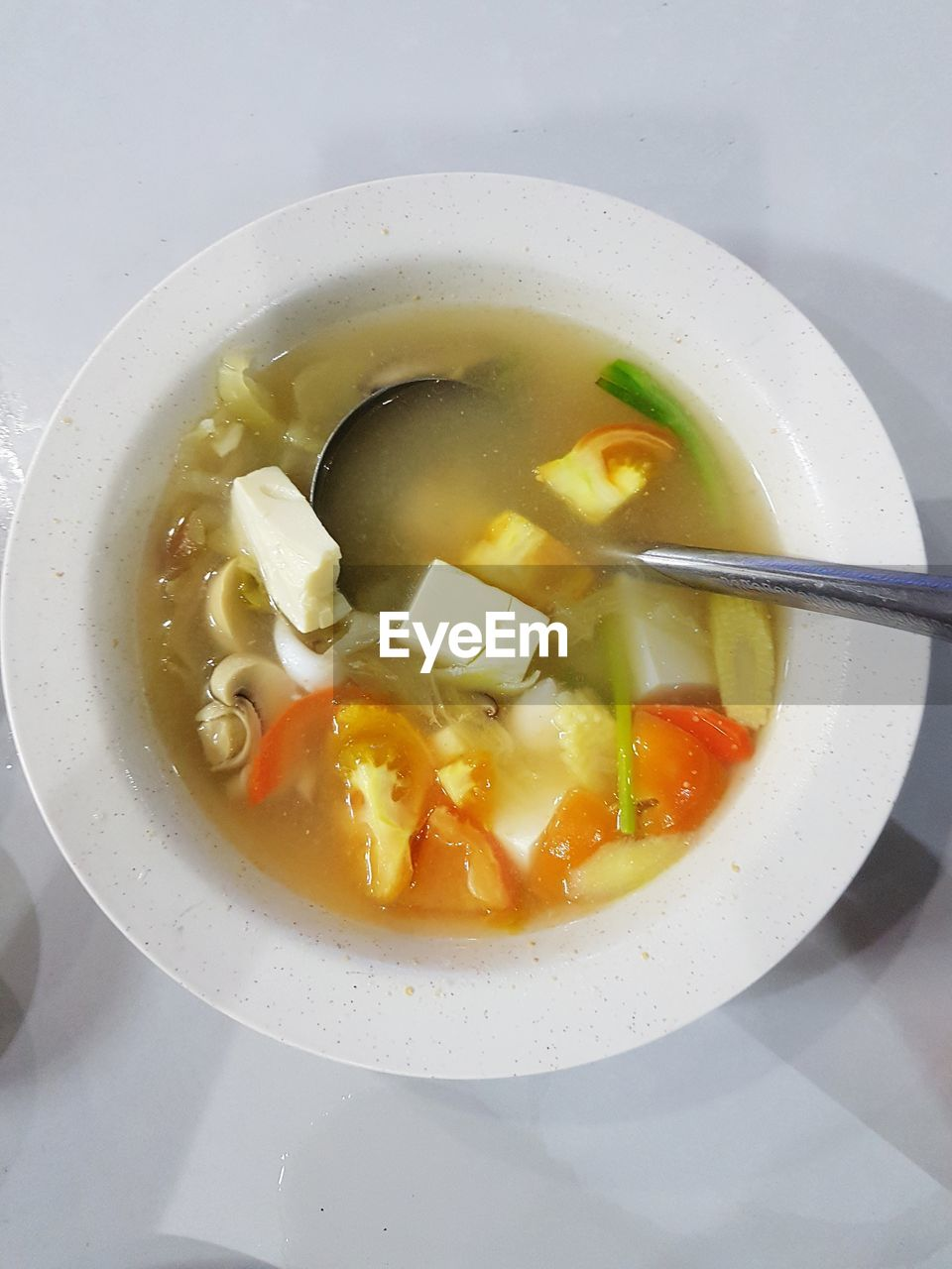 food, ready-to-eat, healthy eating, food and drink, soup, wellbeing, freshness, bowl, indoors, vegetable, spoon, close-up, no people, serving size, table, still life, eating utensil, directly above, high angle view, vegetable soup, soup bowl, garnish, vegetarian food, temptation