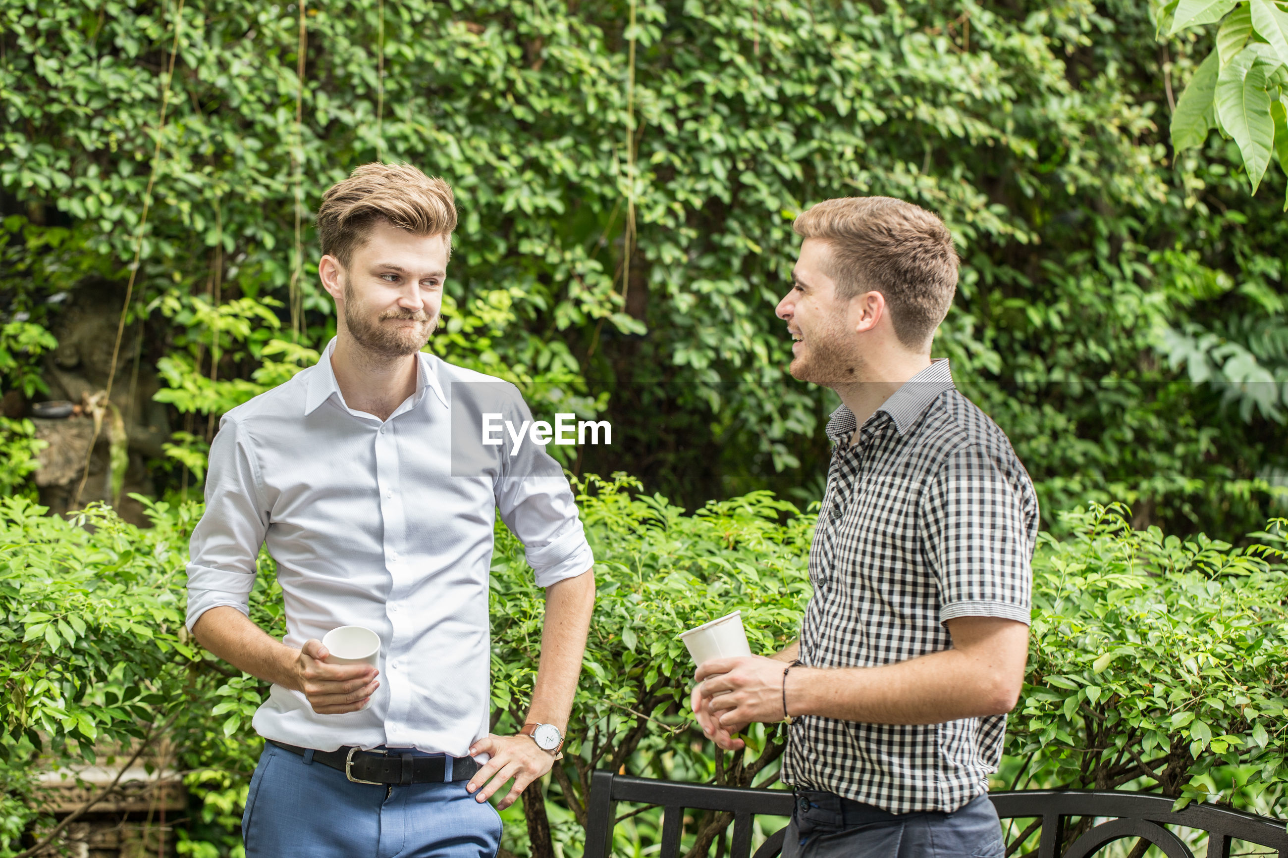 Smiling men holding cups while standing against plants at park