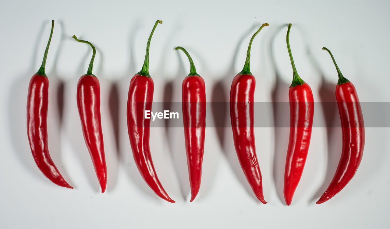 red, studio shot, food and drink, vegetable, chili pepper, red chili pepper, food, spice, pepper, white background, still life, freshness, side by side, indoors, group of objects, close-up, directly above, no people, in a row, high angle view, temptation