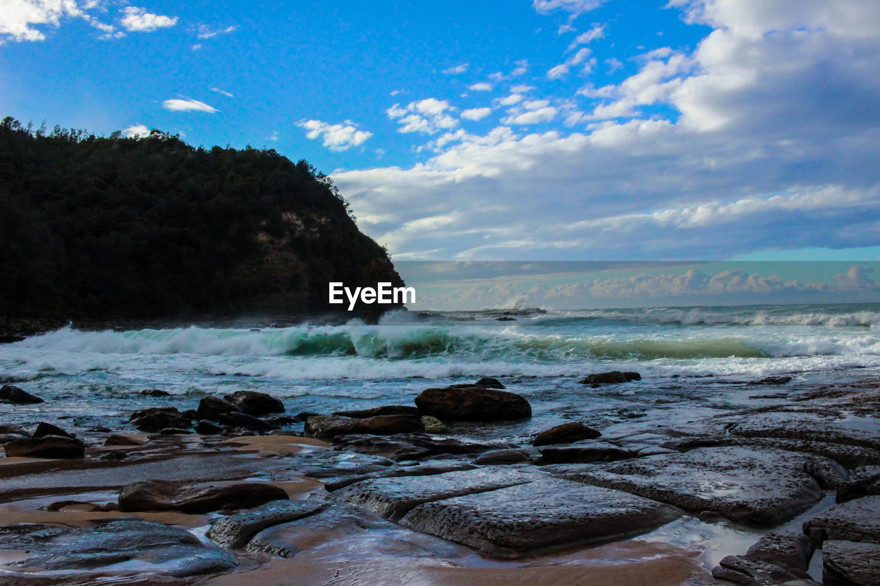beauty in nature, water, sky, sea, nature, scenics, no people, cloud - sky, tranquil scene, rock - object, tranquility, outdoors, day, horizon over water, beach, wave