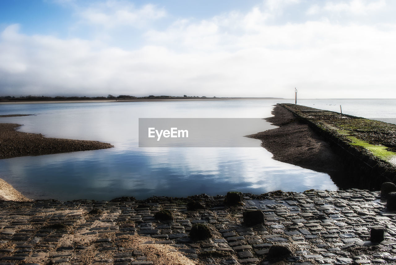 water, sky, nature, scenics, cloud - sky, sea, tranquility, tranquil scene, outdoors, day, rock - object, no people, beauty in nature, horizon over water, travel destinations, retaining wall, groyne