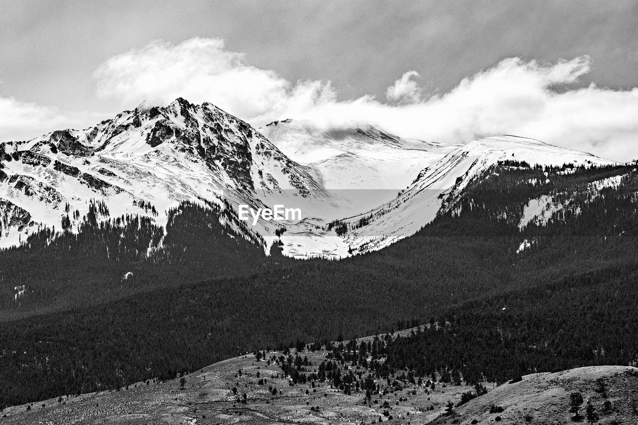 mountain, snow, cloud - sky, scenics - nature, sky, cold temperature, winter, beauty in nature, snowcapped mountain, tranquil scene, environment, tranquility, landscape, mountain range, non-urban scene, nature, day, no people, idyllic, mountain peak