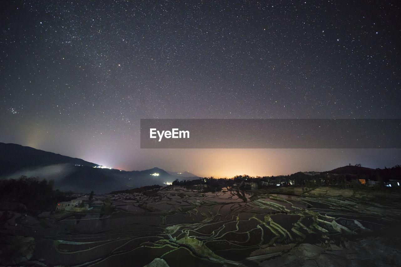 Star track of yuanyang rice terrace, yunnan, china