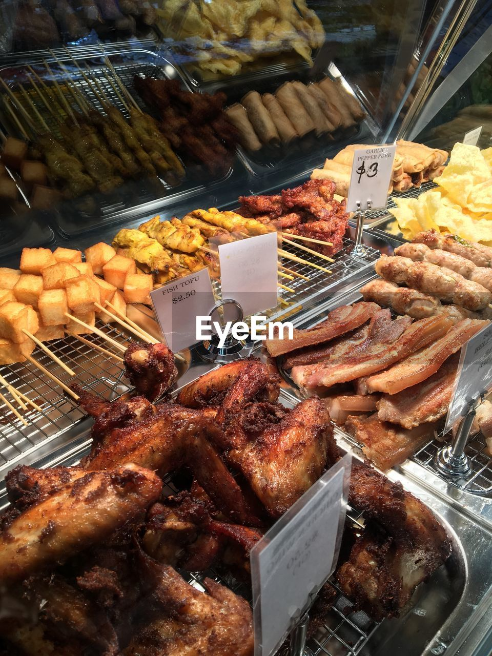 HIGH ANGLE VIEW OF MEAT FOR SALE IN MARKET