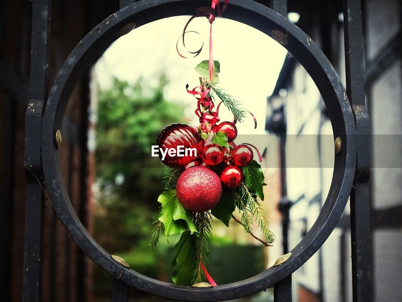 Close-up of Christmas baubles hanging on gate