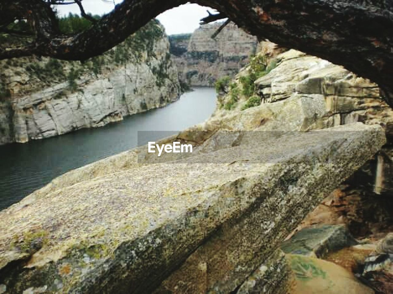 rock - object, river, no people, day, nature, outdoors, cliff, water, mountain, rock face, sky
