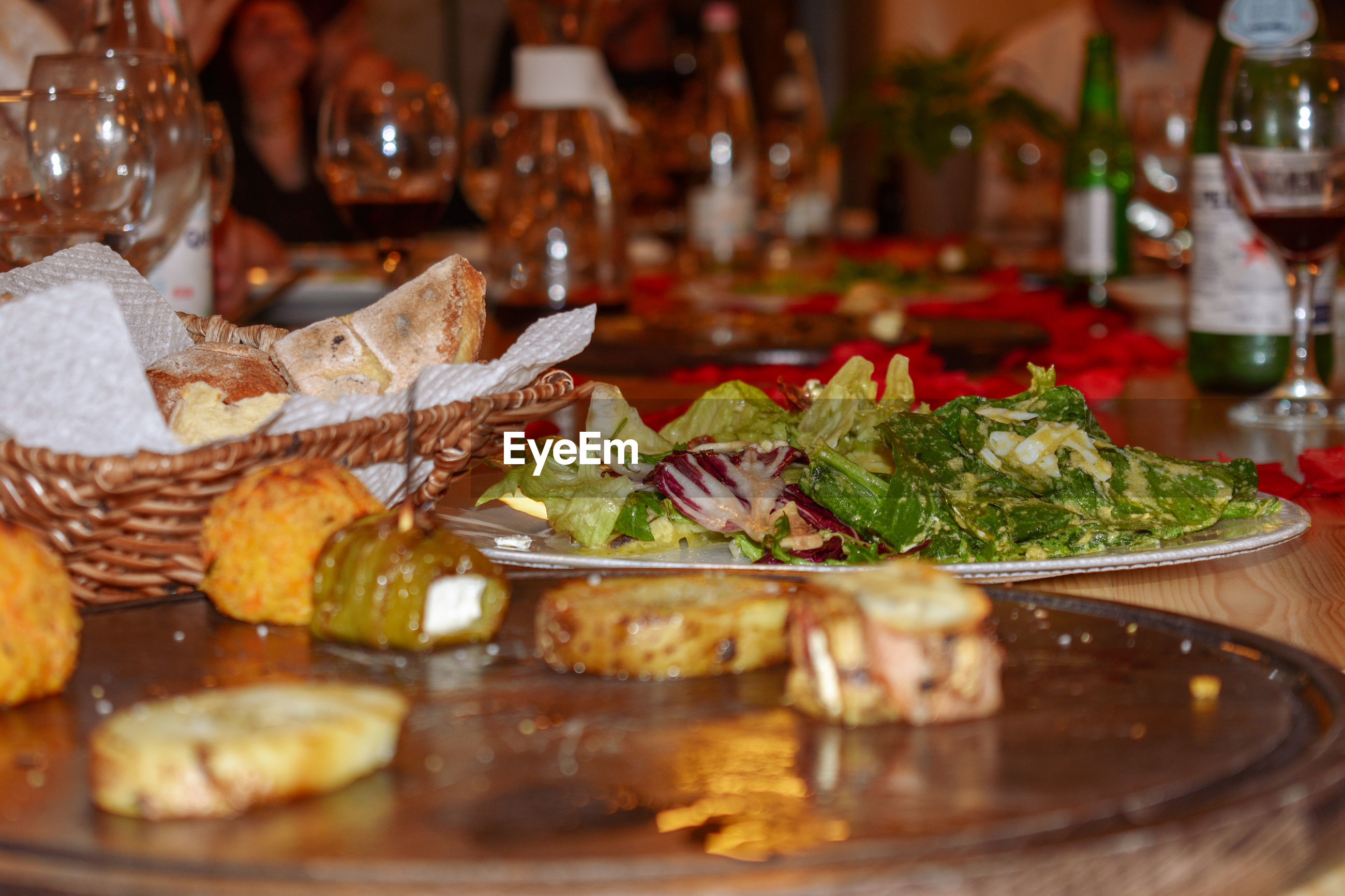 Close-up of meal served on table in restaurant