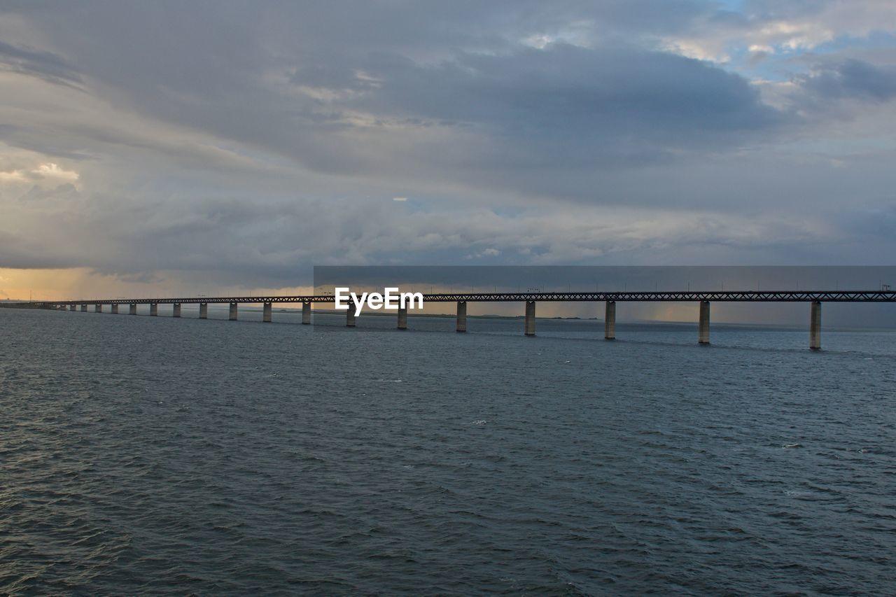 Scenic View Of Bridge Over Sea Against Sky