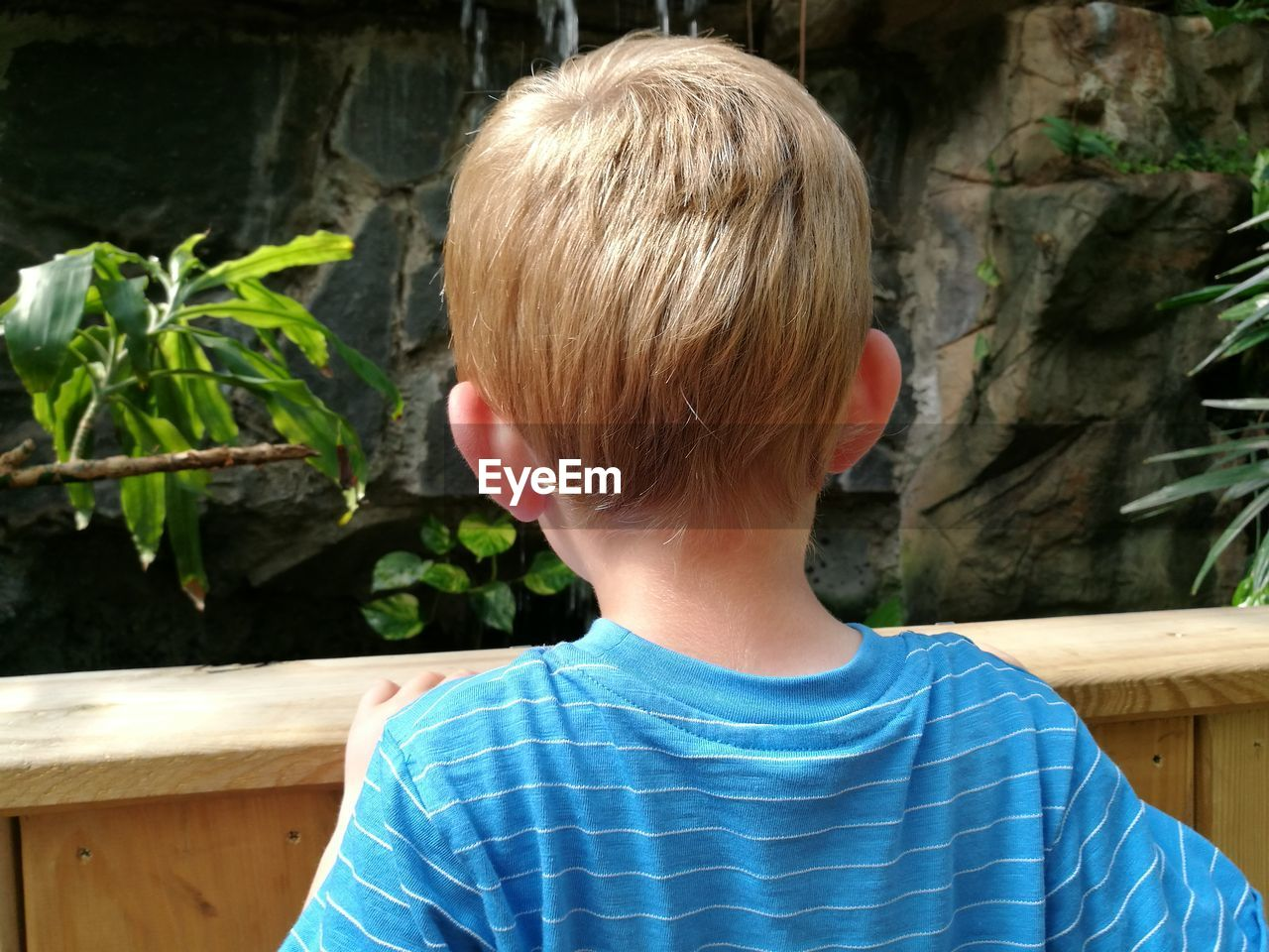 Rear View Close-Up Of Boy Standing By Railing Against Waterfall