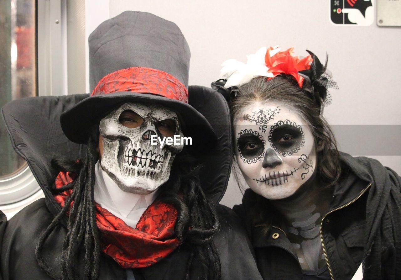 carnival, celebration, halloween, spooky, real people, venetian mask, day, skeleton, disguise, outdoors, human skull, clown