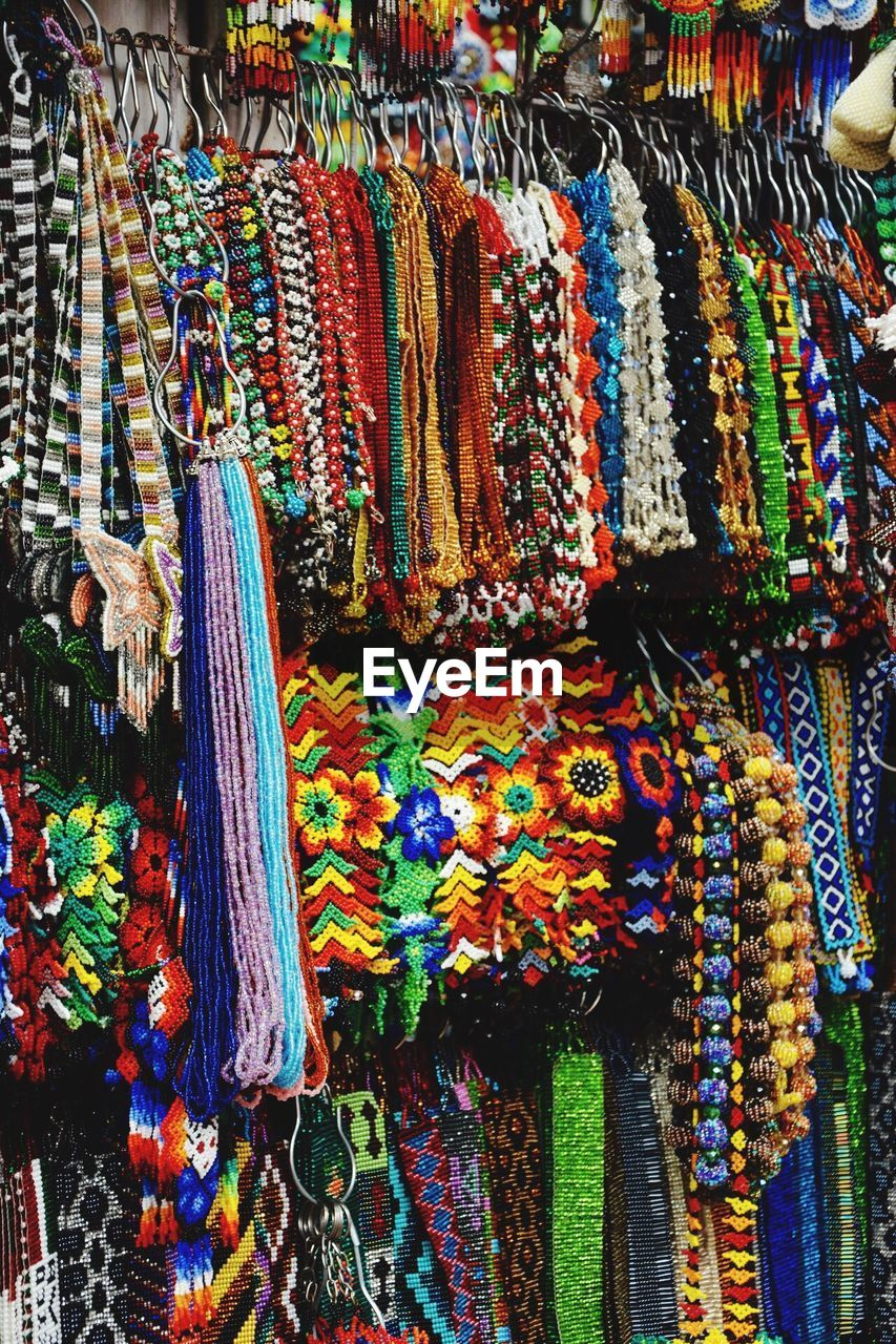 Various Colorful Necklace For Sale At Market Stall