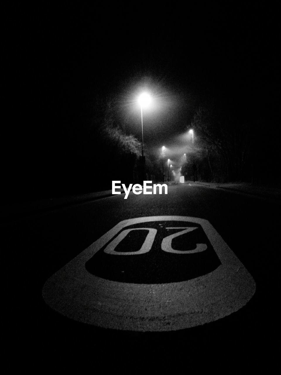 night, illuminated, lighting equipment, street light, communication, no people, outdoors, road sign, nature, sky