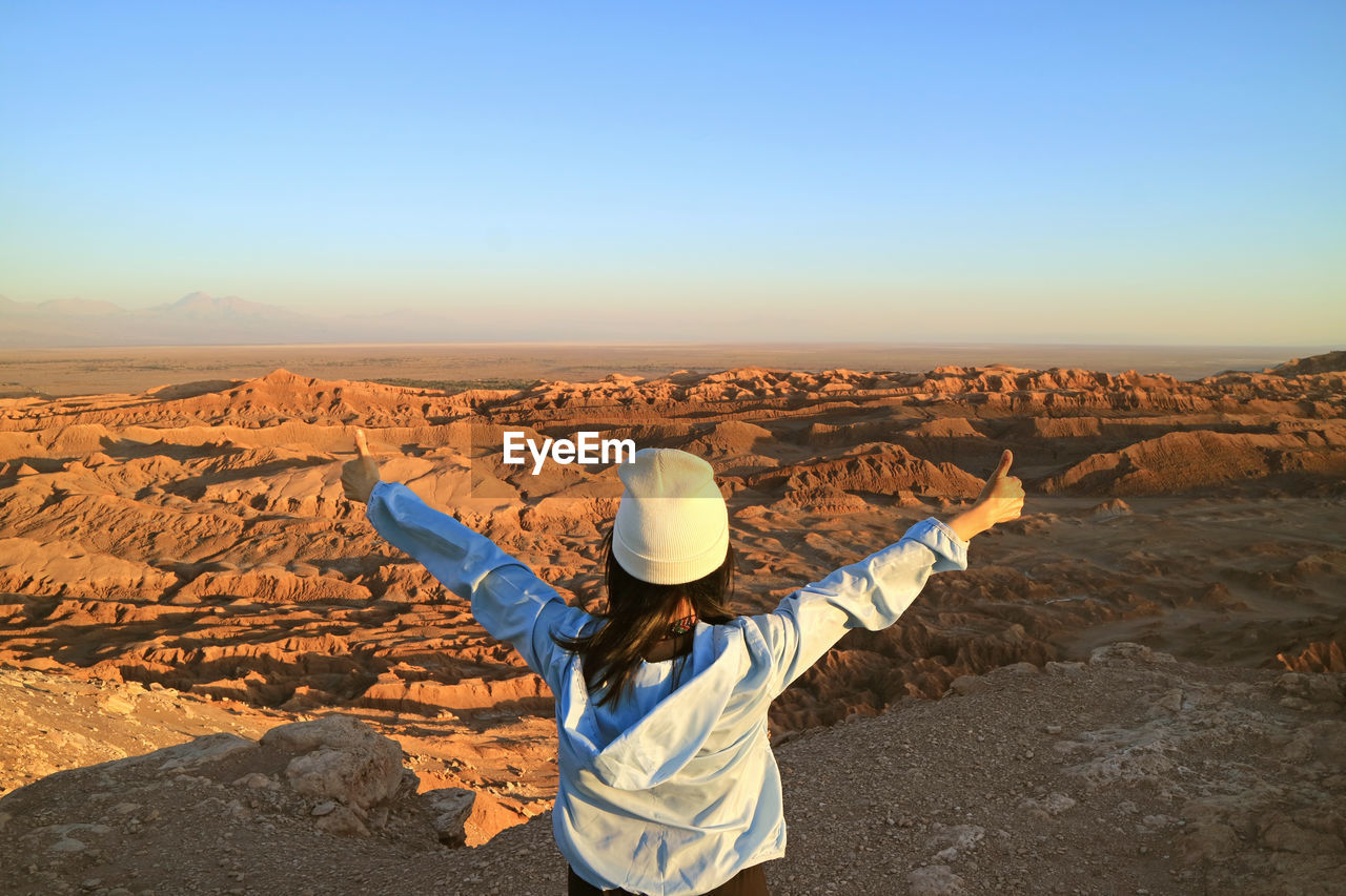 Rear view of person standing on landscape against clear sky
