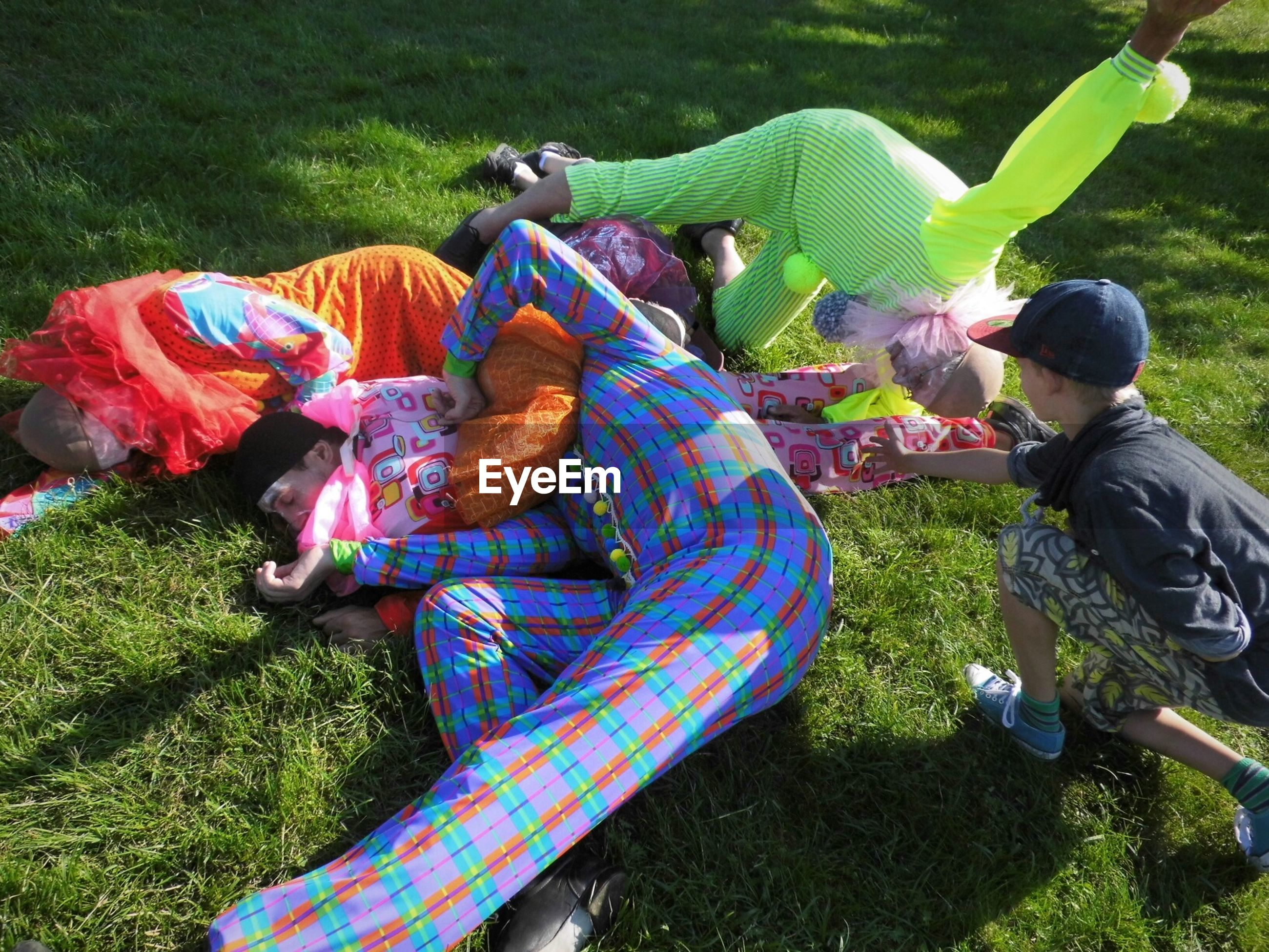 High angle view of clowns lying on grass at de verademing