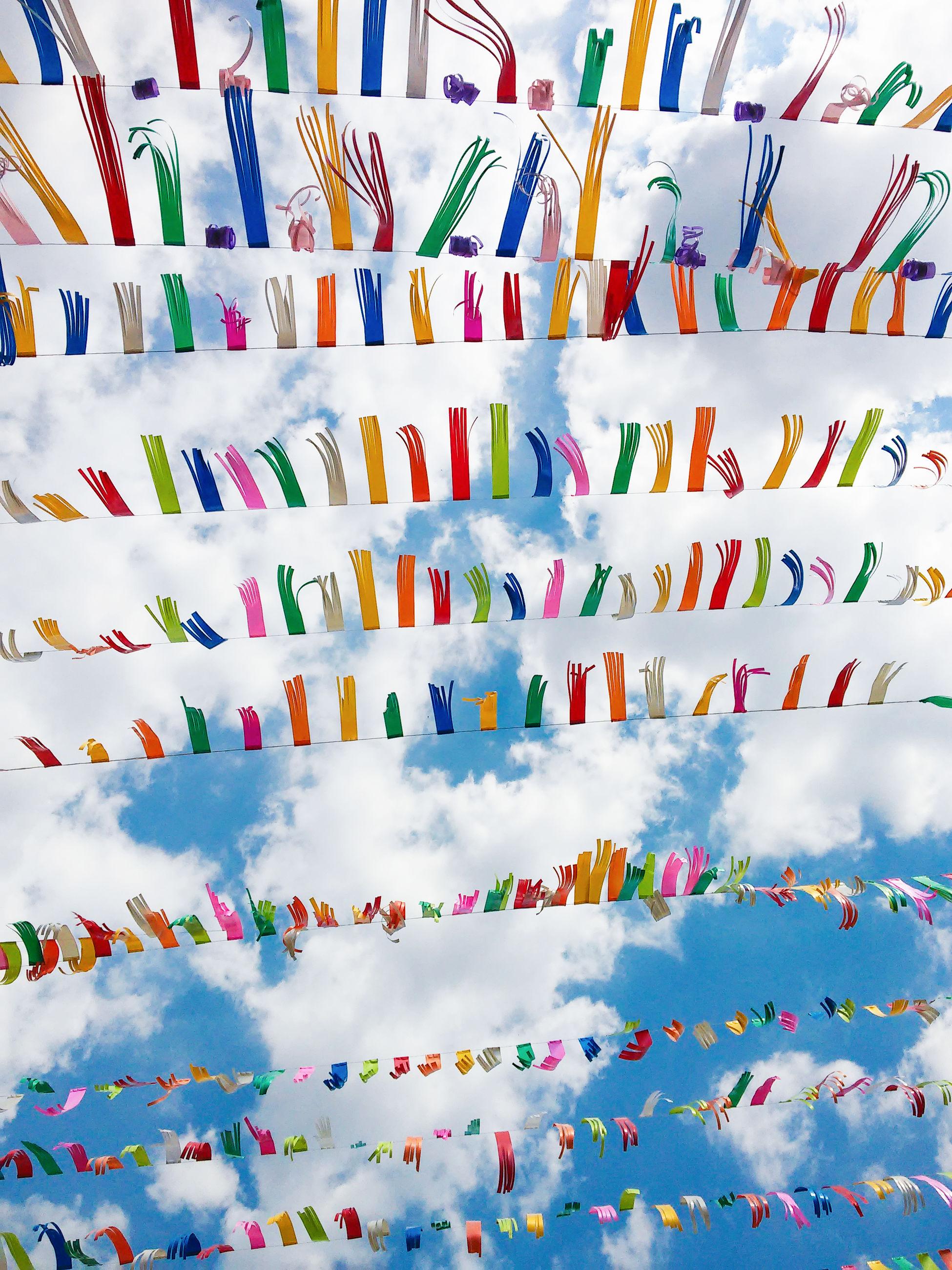 Full frame shot of multi colored decoration against sky
