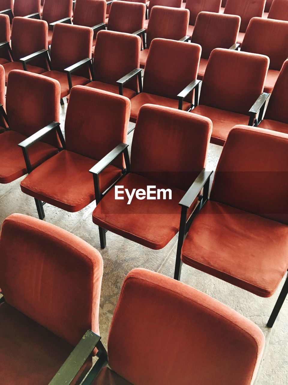 Full frame shot of empty chairs at stage theater