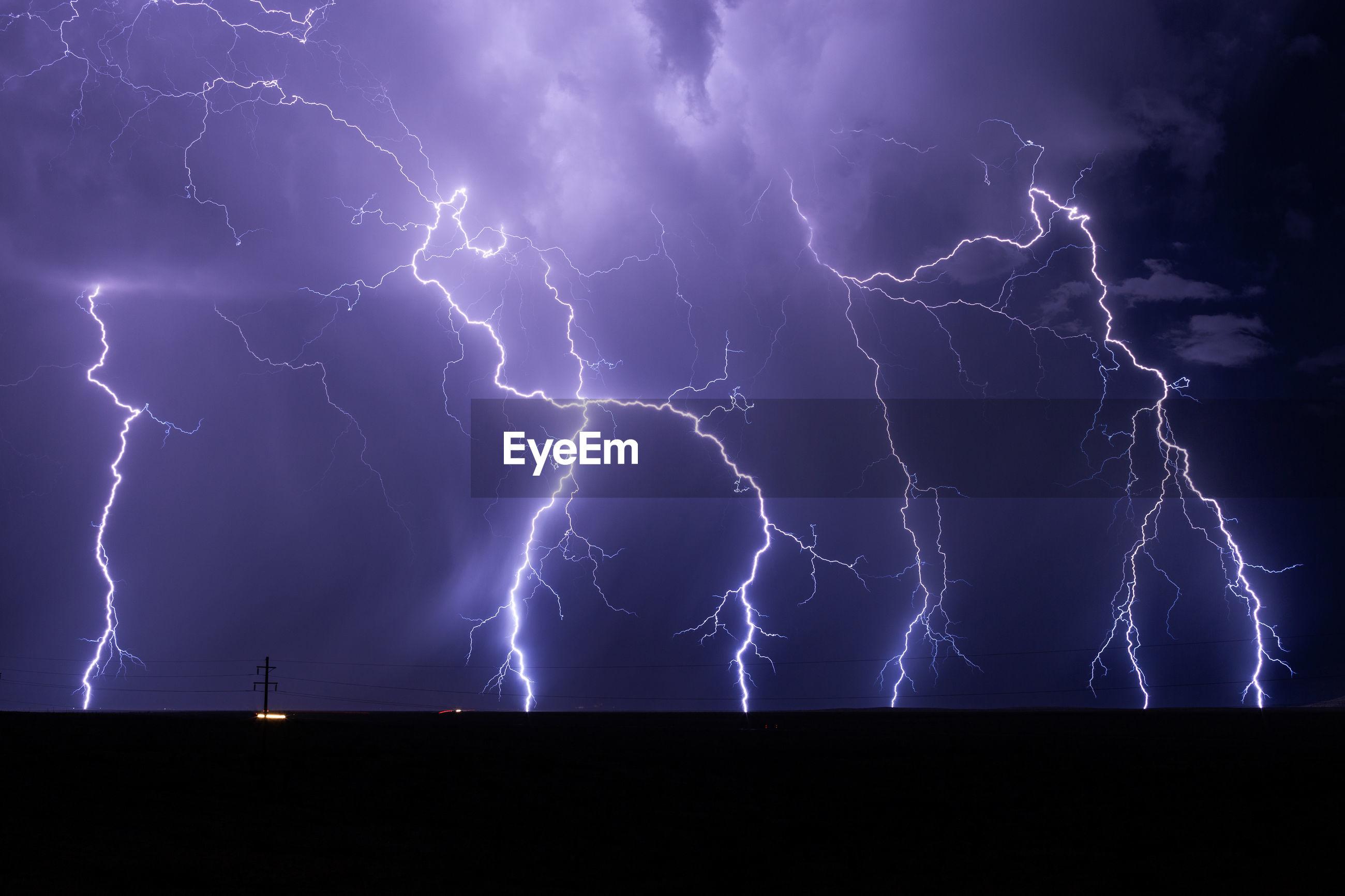 Lightning against sky at night