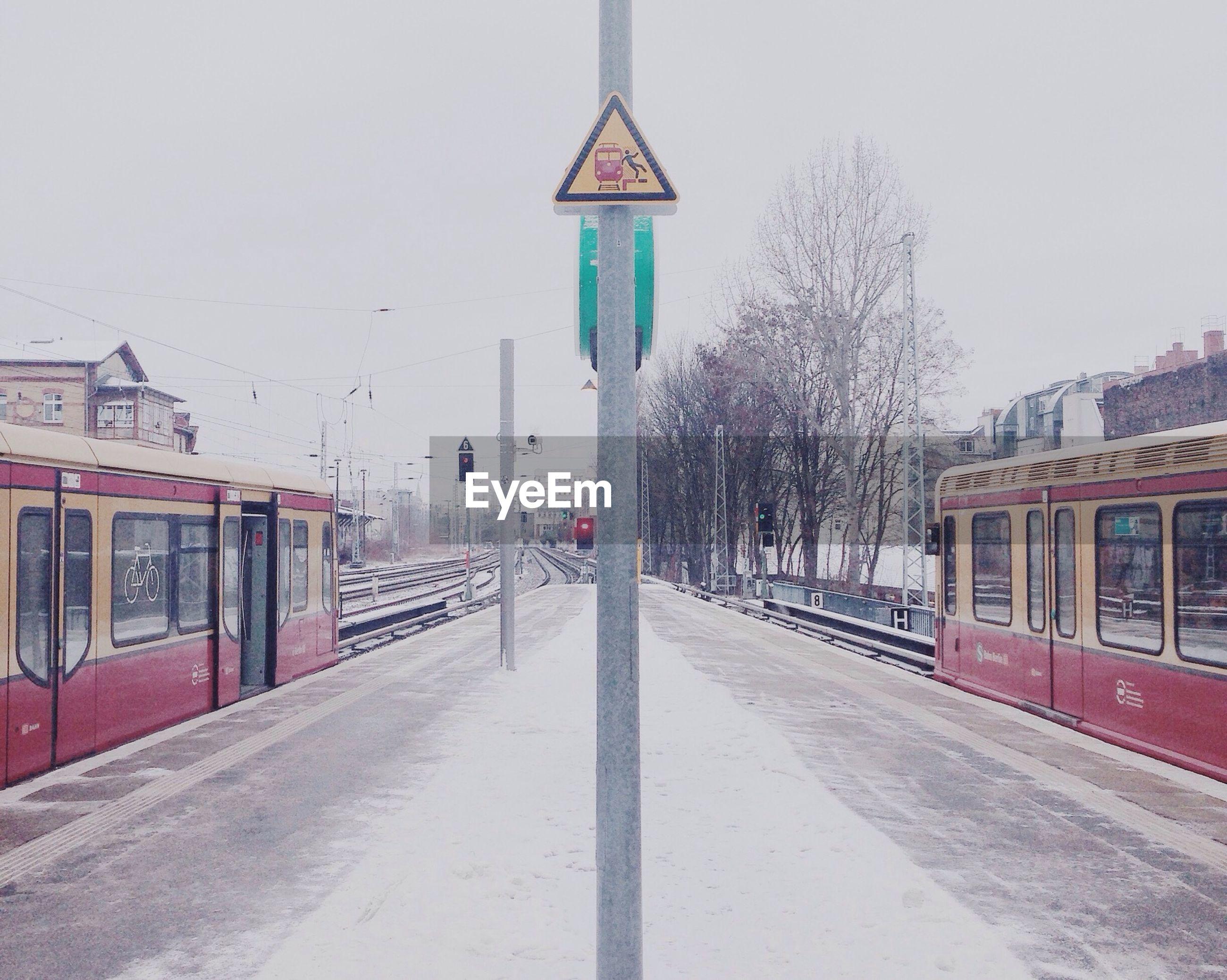 Trains at railway station platform