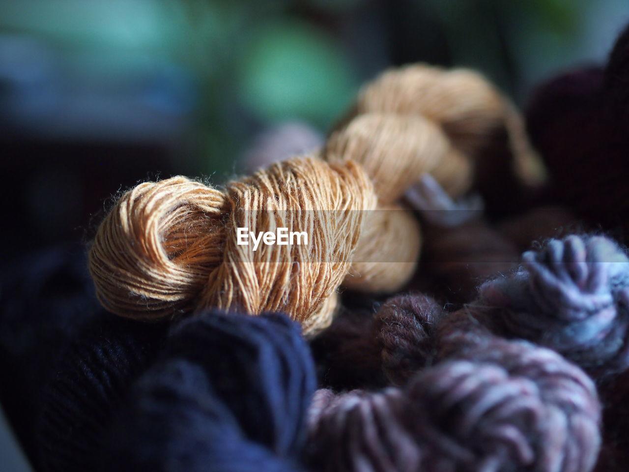 Close-up of golden eri silk skein