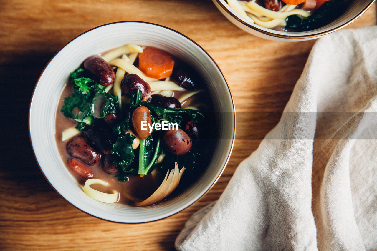 Directly Above Shot Of Soup In Bowl