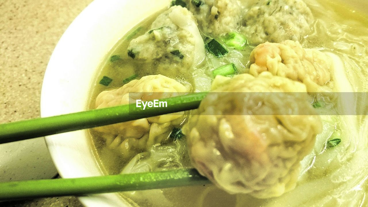 food and drink, food, healthy eating, freshness, indoors, ready-to-eat, vegetable, bowl, meat, close-up, serving size, soup, meal, no people, gourmet, appetizer, dumpling, day