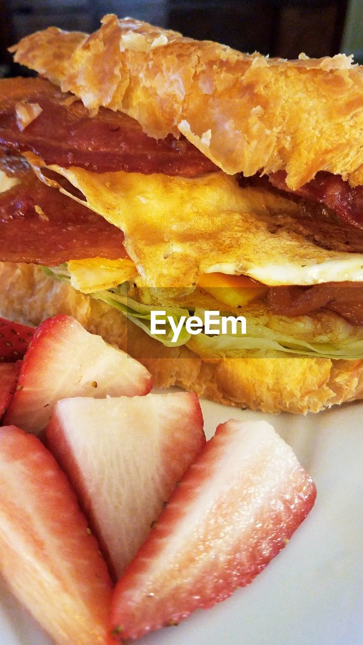 food and drink, ready-to-eat, food, sandwich, freshness, serving size, bread, indoors, no people, plate, breakfast, slice, meat, close-up, ham, bacon, healthy eating, day