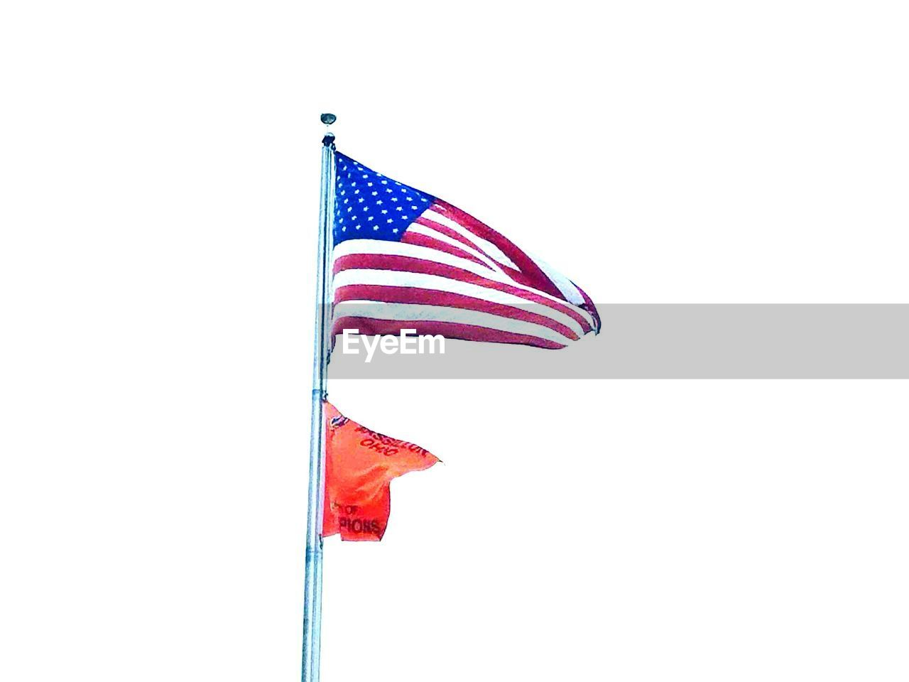 flag, patriotism, flag pole, striped, no people, wind, stars and stripes, low angle view, day, clear sky, outdoors