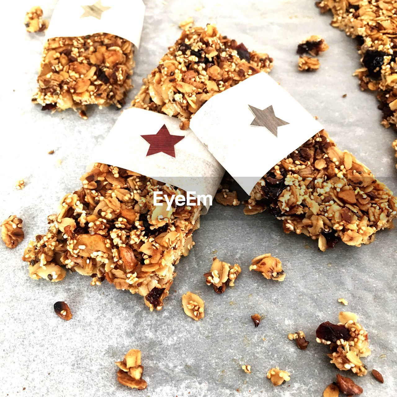 food and drink, food, still life, star shape, indoors, freshness, sweet food, close-up, no people, high angle view, nut, nut - food, cookie, indulgence, shape, baked, chocolate, table, wellbeing, seed, snack, temptation