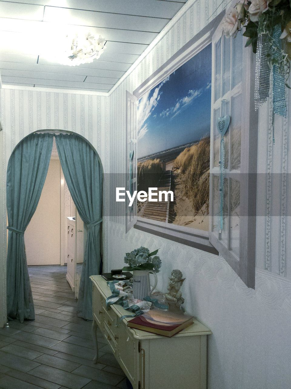 indoors, curtain, window, home interior, door, no people, plant, drapes, day, open door, home showcase interior, architecture, nature, bedroom, sky