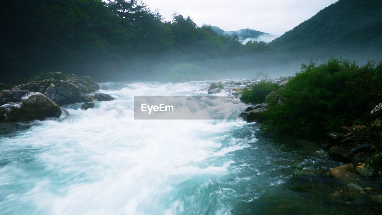 nature, motion, beauty in nature, water, waterfall, scenics, no people, outdoors, long exposure, tranquil scene, day, river, tranquility, mountain, forest, power in nature, tree, sky