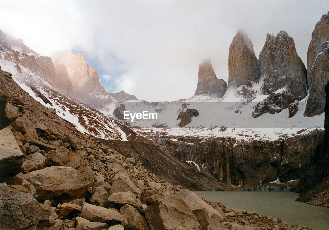 Rocky Mountains At Torres Del Paine National Park During Winter