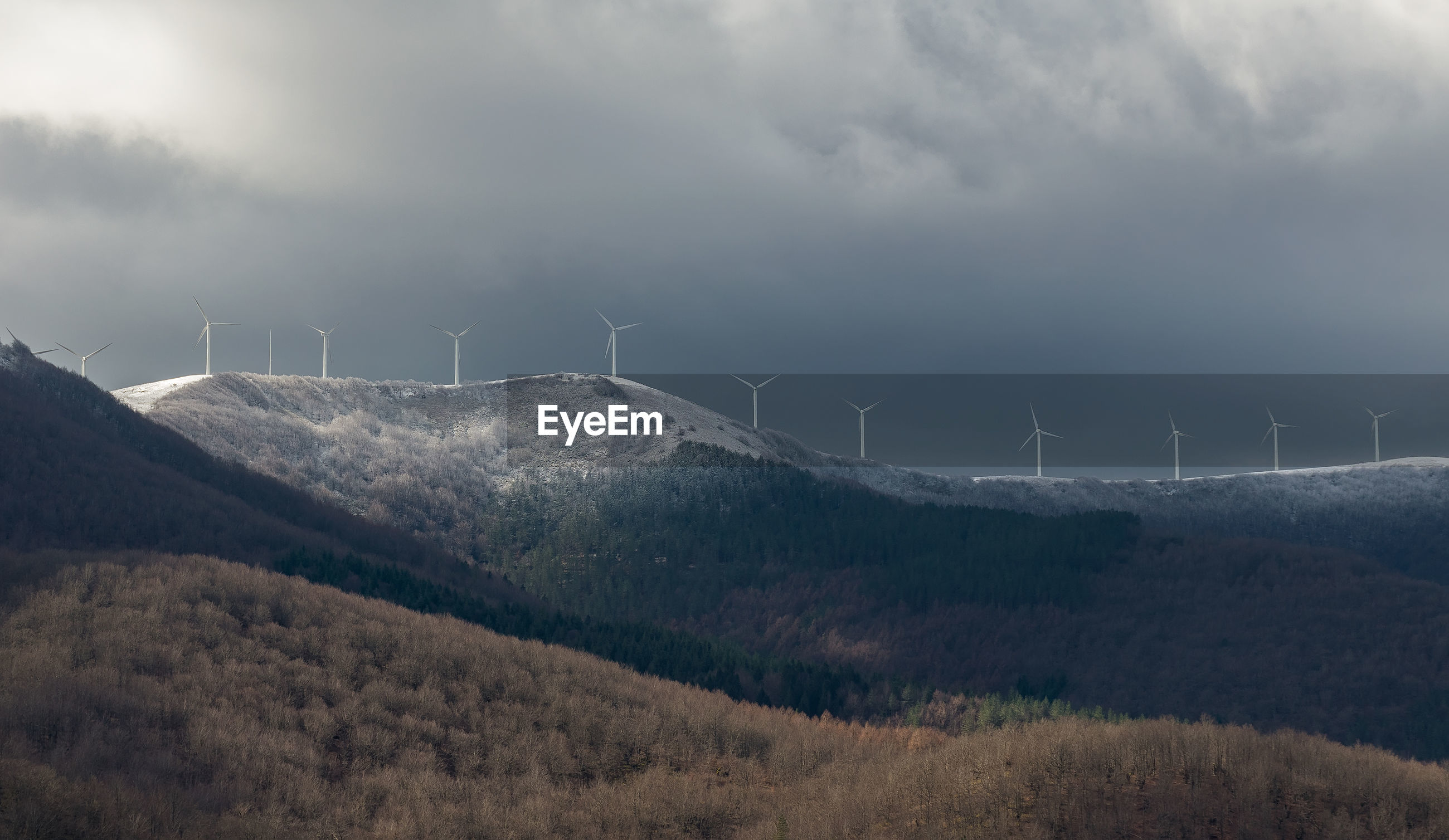 PANORAMIC VIEW OF WIND TURBINES ON LAND