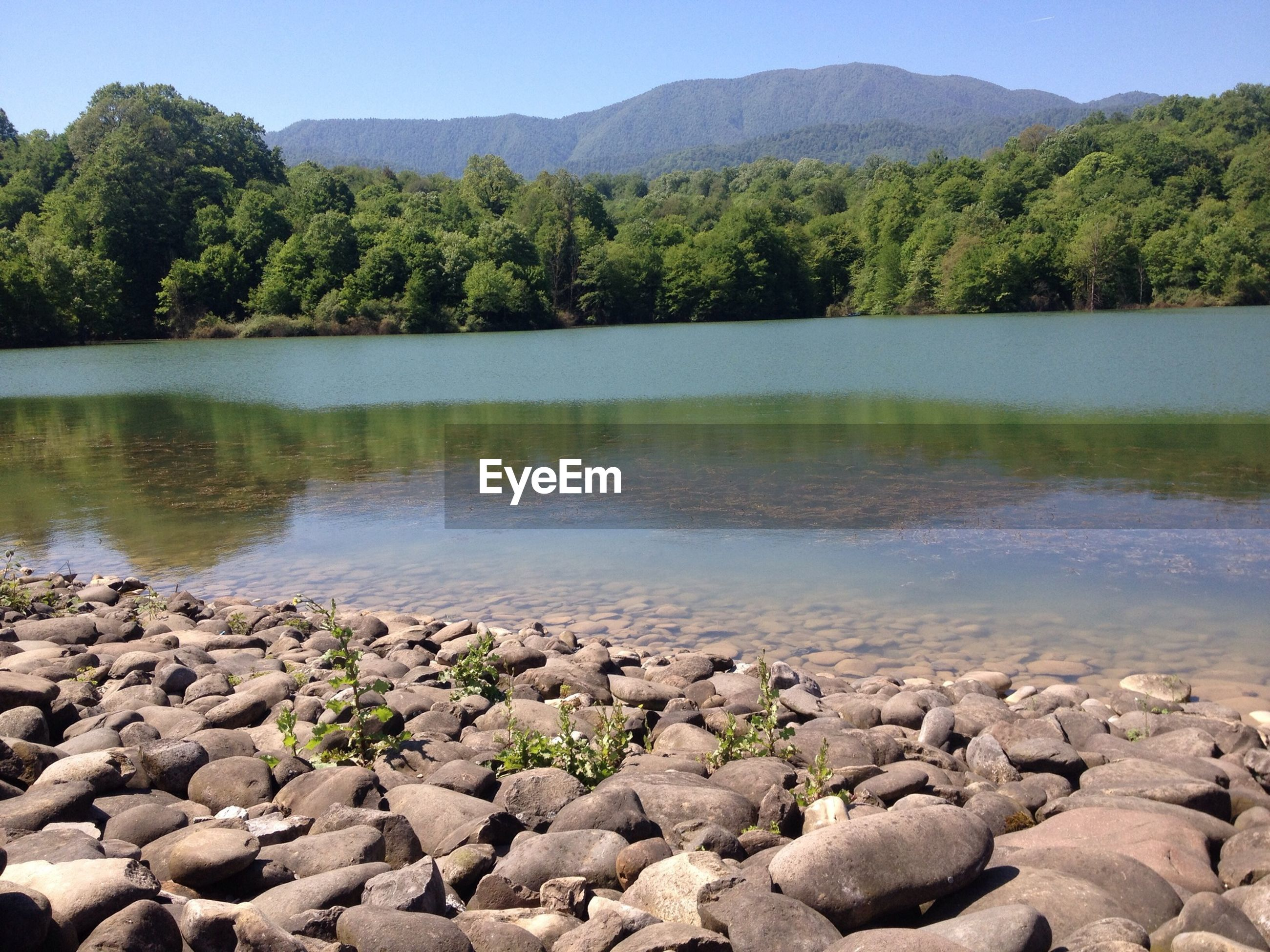 water, tranquil scene, tranquility, scenics, rock - object, lake, beauty in nature, tree, stone - object, nature, reflection, clear sky, mountain, river, stone, sky, rock, idyllic, day, non-urban scene
