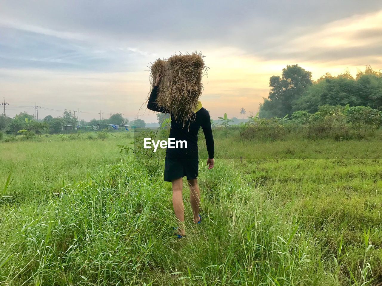 grass, land, plant, field, sky, real people, one person, green color, cloud - sky, landscape, nature, growth, lifestyles, environment, beauty in nature, adult, walking, rural scene, leisure activity, hairstyle, outdoors