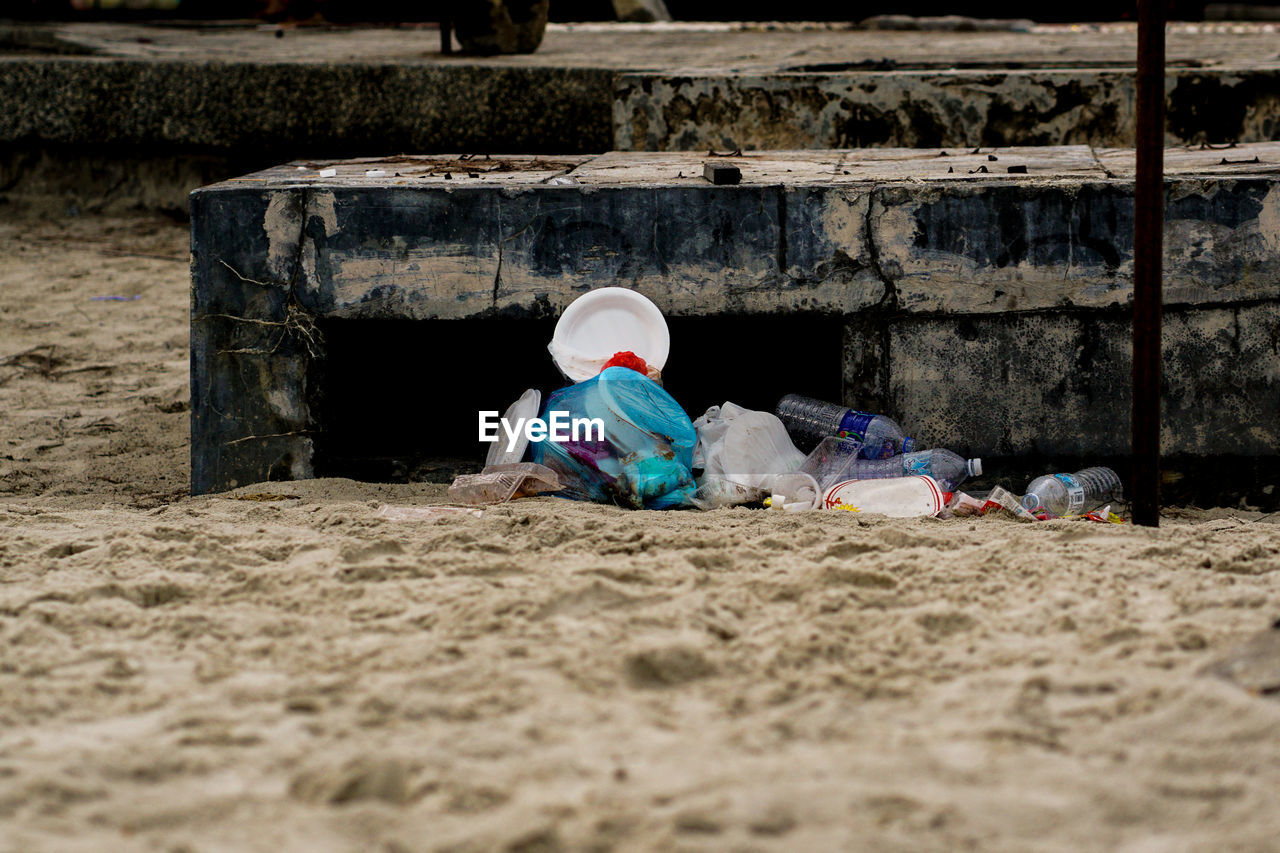 View of garbage on beach