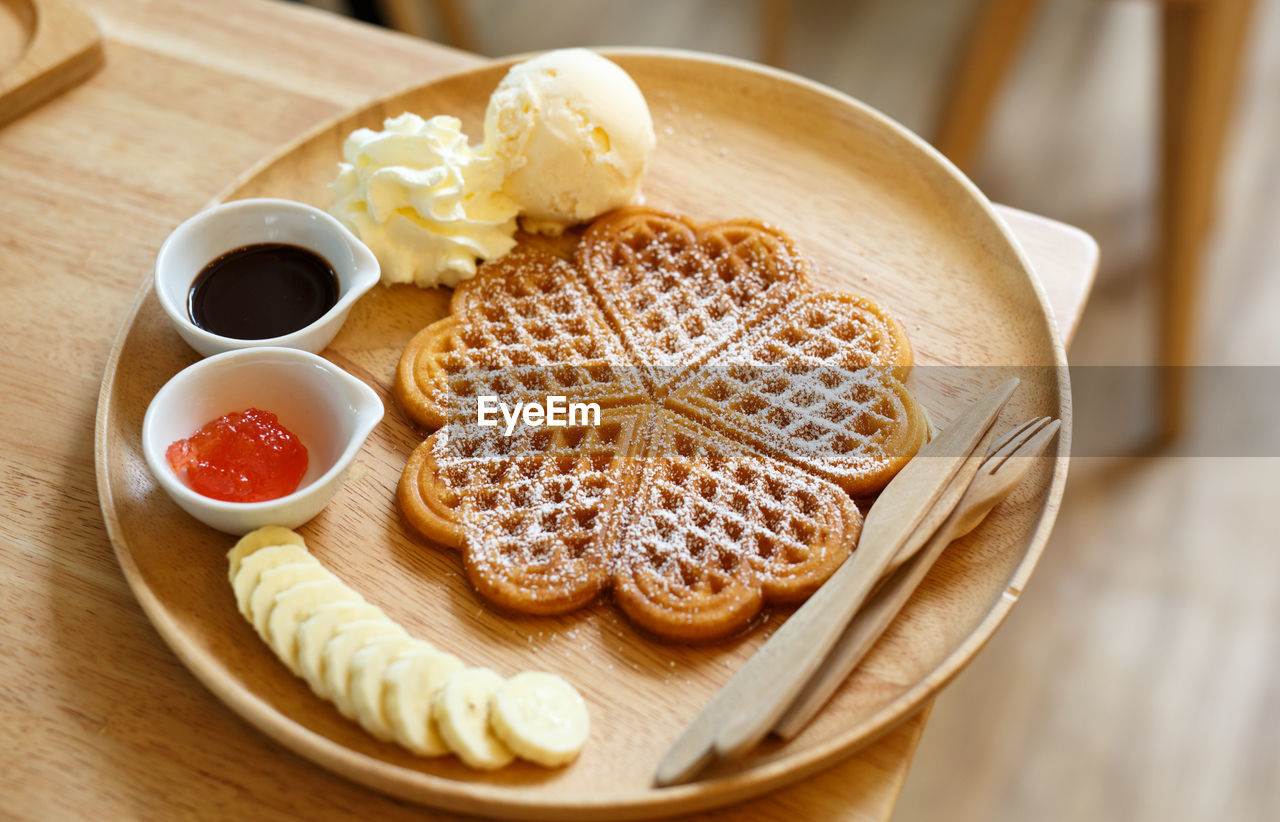 food and drink, food, indulgence, freshness, sweet food, table, still life, dessert, temptation, indoors, no people, plate, unhealthy eating, ready-to-eat, serving size, close-up, pancake, dessert topping, day