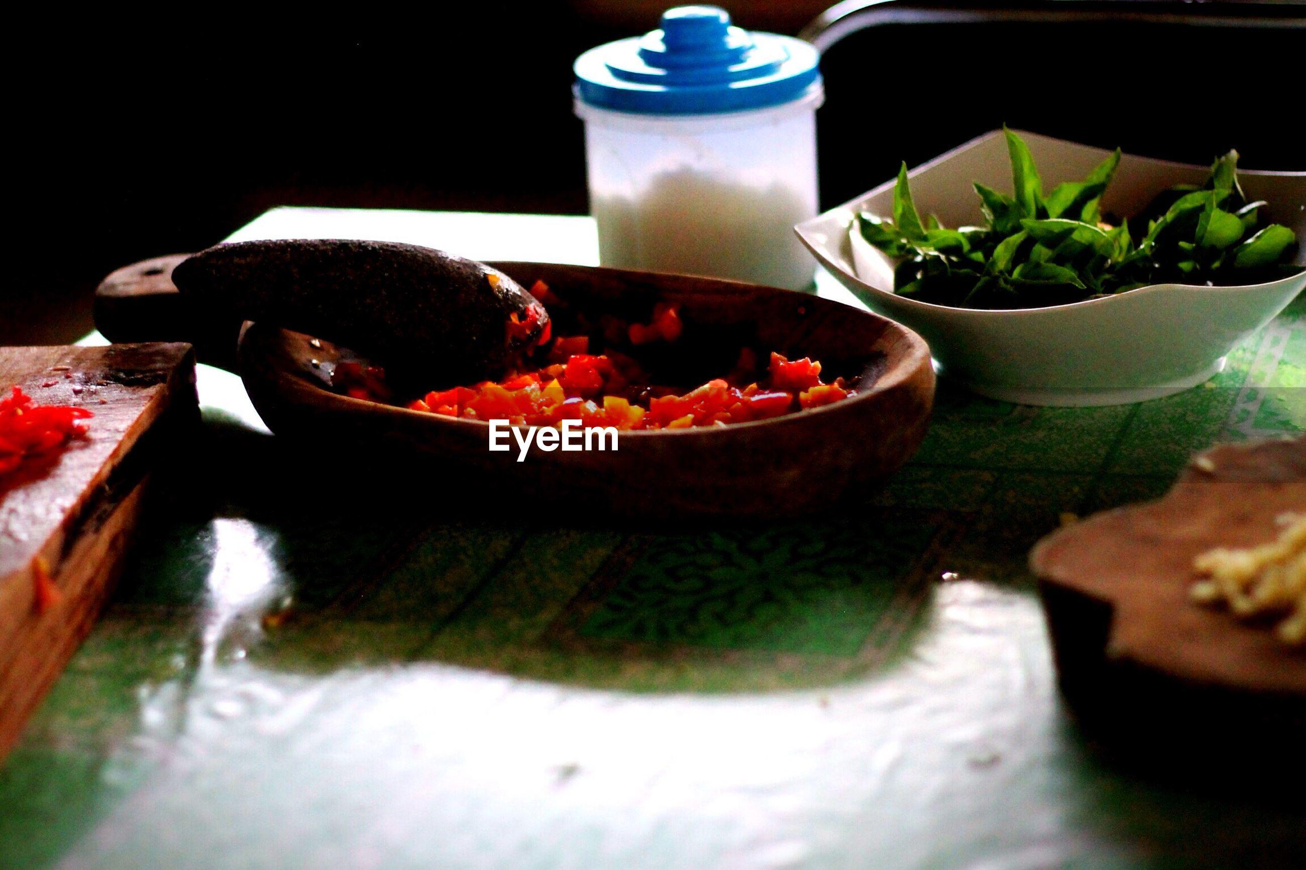 Ingredients to make sambal on table