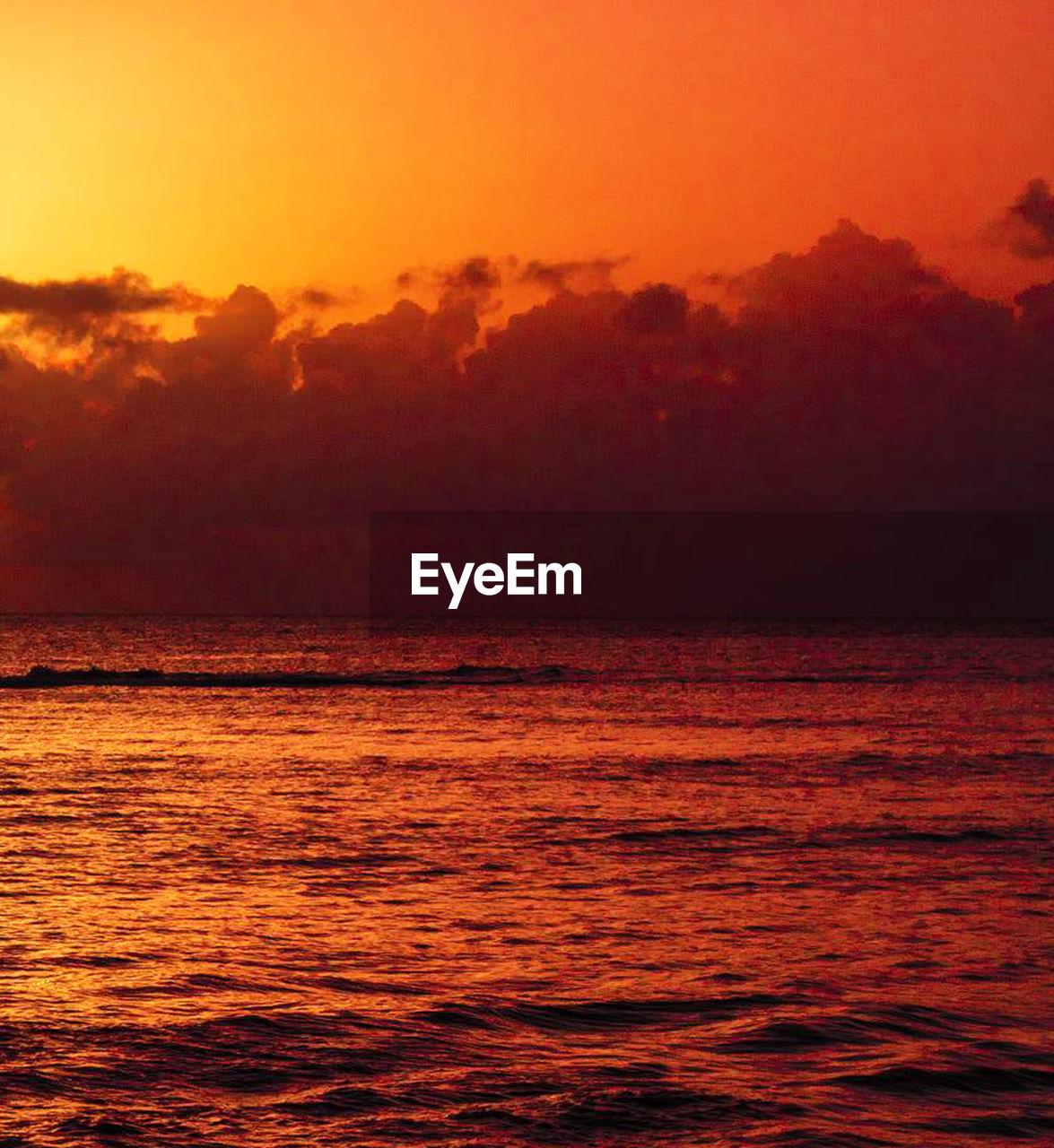 water, sea, sunset, sky, beauty in nature, scenics - nature, tranquility, cloud - sky, nature, tranquil scene, no people, orange color, horizon over water, horizon, idyllic, dramatic sky, rippled, outdoors, seascape