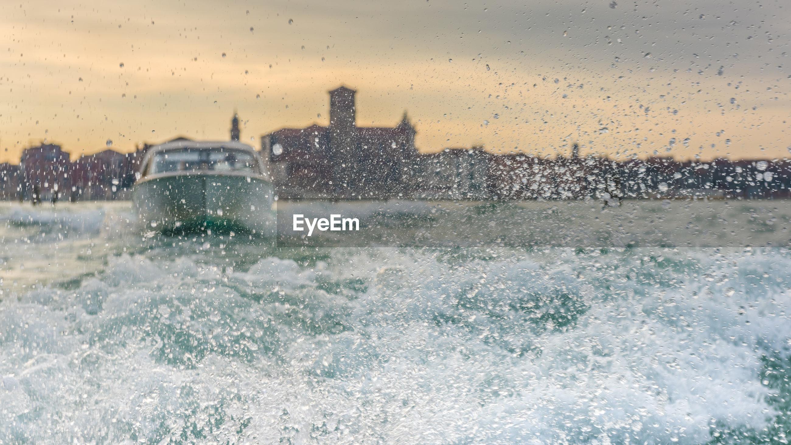 Wave splashing in sea during winter