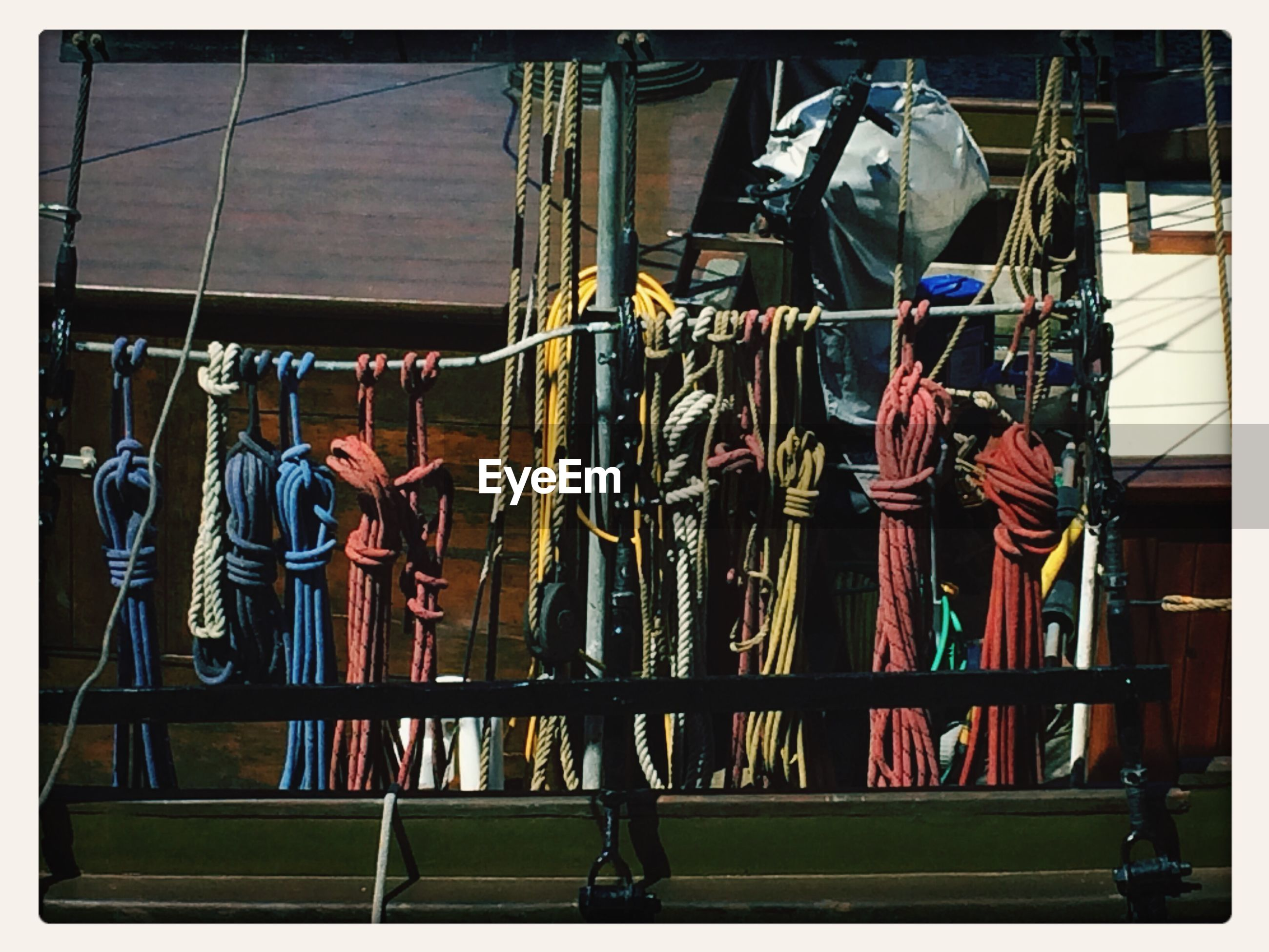 Ropes on rack on deck