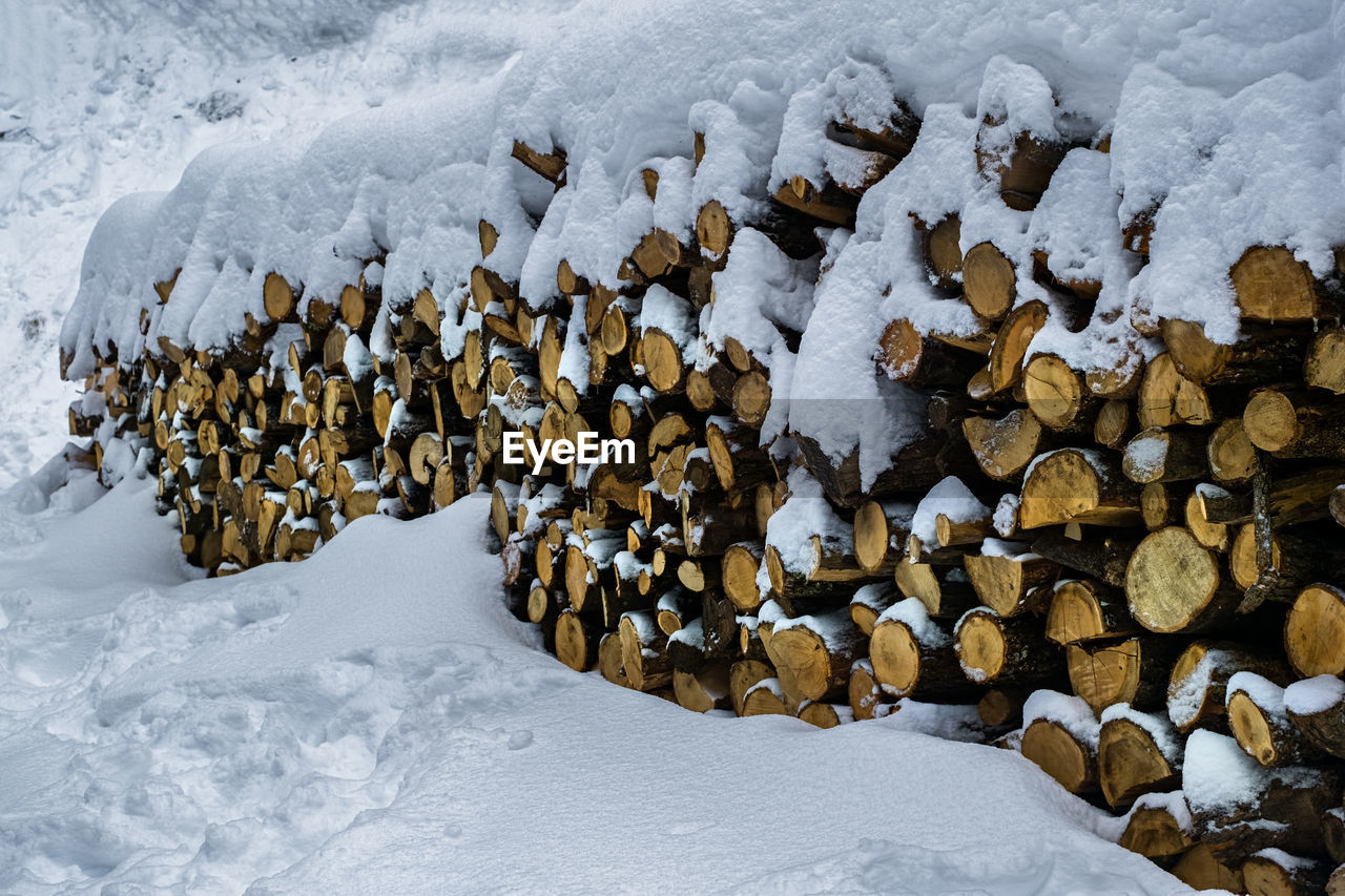 winter, cold temperature, snow, covering, nature, no people, day, frozen, white color, large group of objects, land, beauty in nature, tranquility, log, wood - material, abundance, timber, ice, stack, outdoors, extreme weather, snowcapped mountain