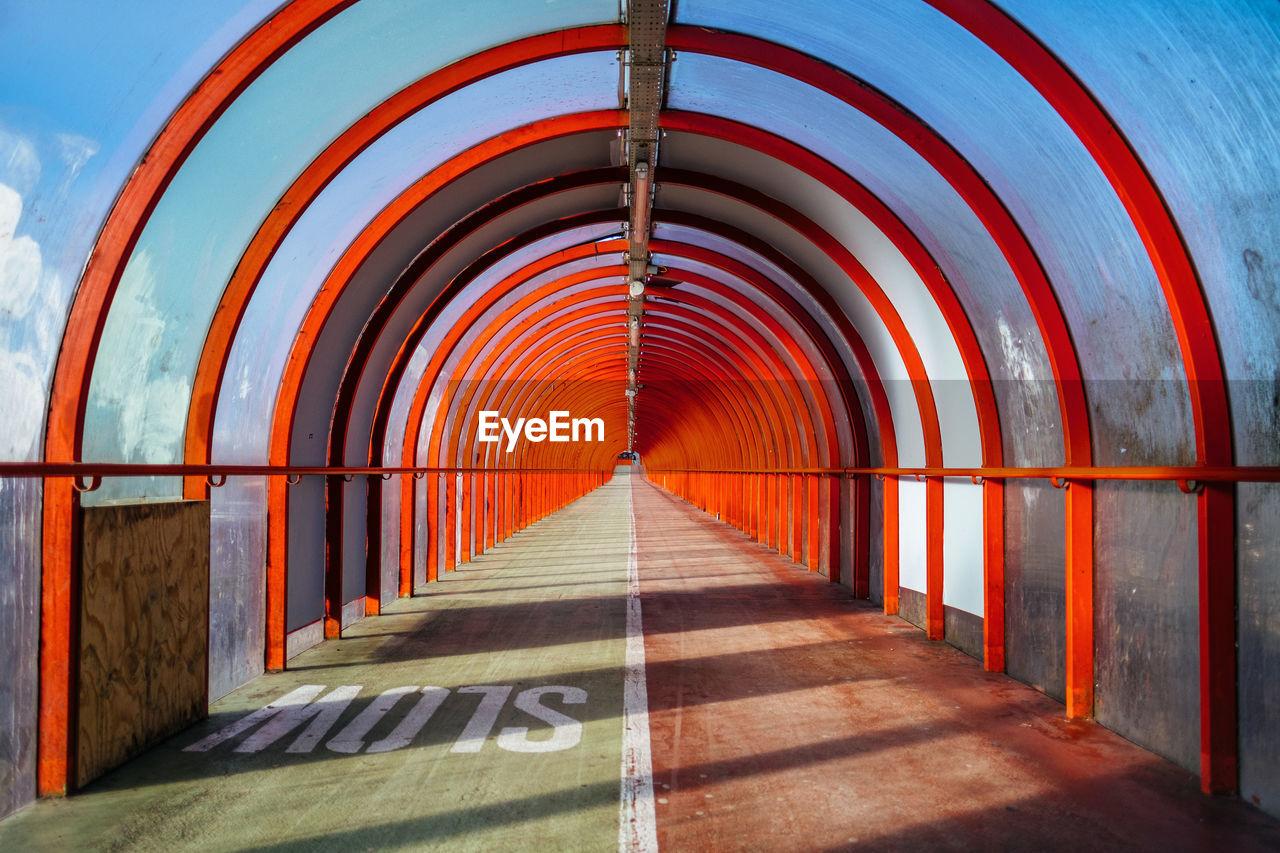 View of empty railway bridge