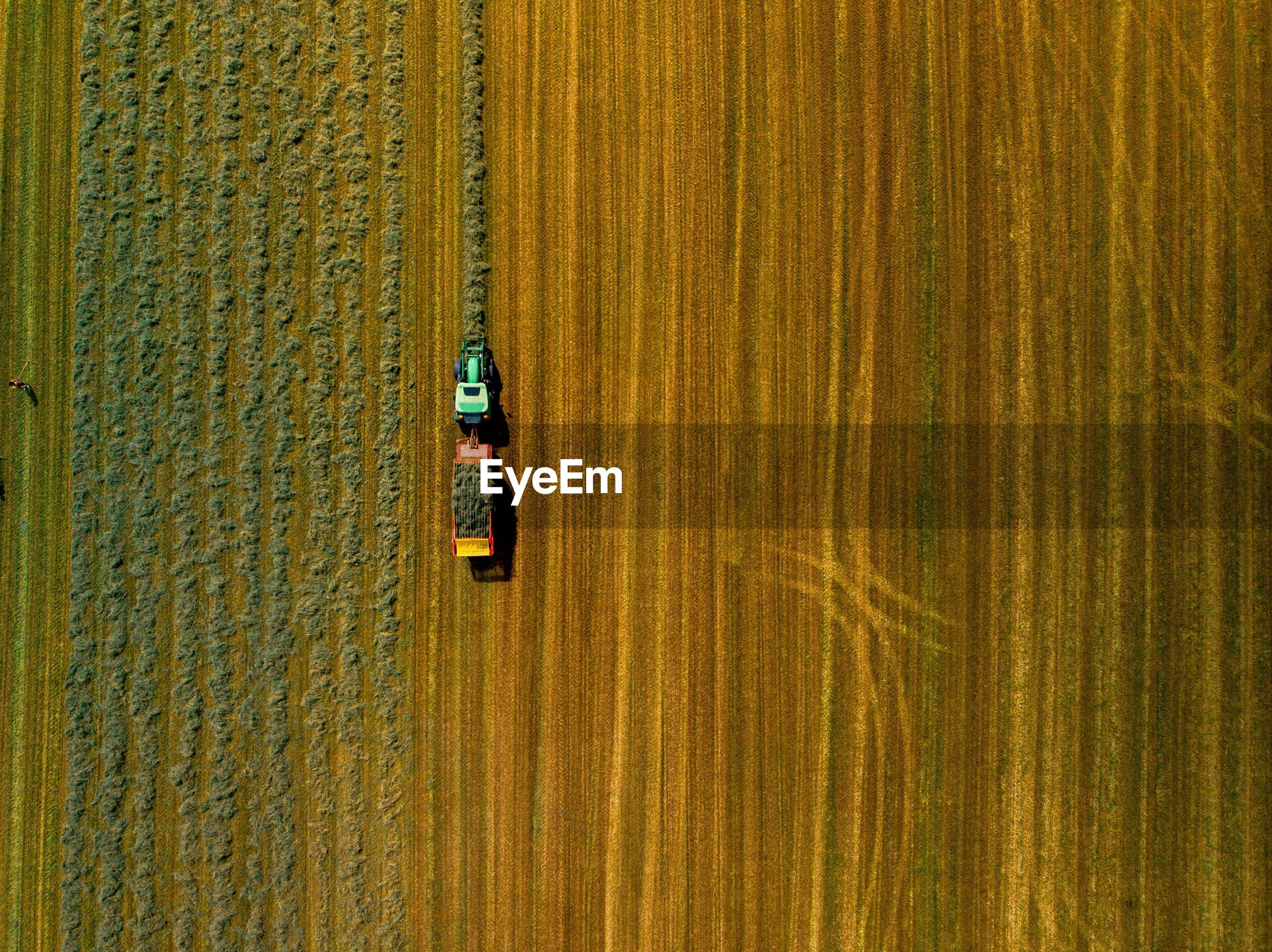 High angle view of tractor on agricultural field
