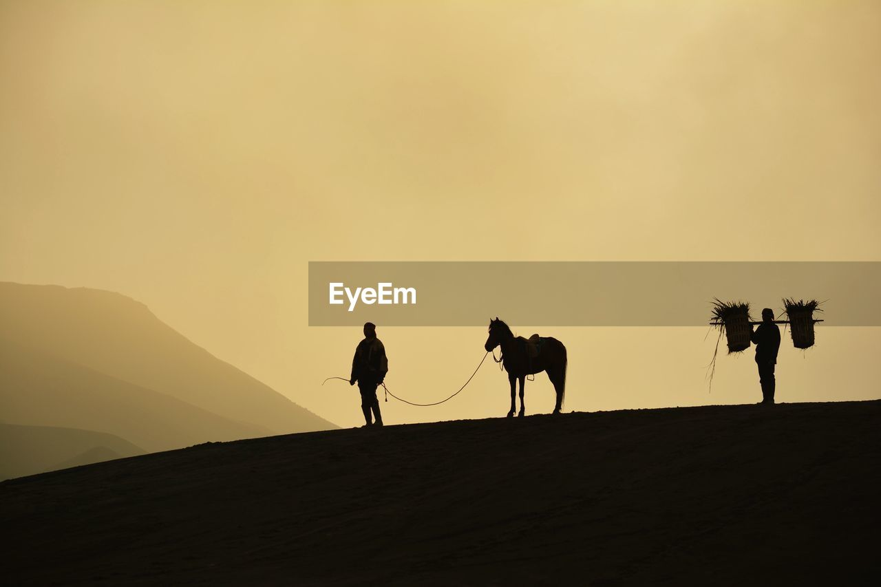 Silhouette Man Standing With Horse On Field Against Sky During Sunset