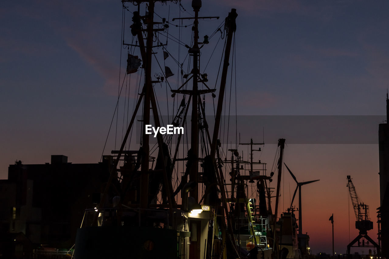 sky, sunset, nautical vessel, outdoors, no people, mast, transportation, harbor, moored, building exterior, night, architecture, nature, city, shipyard, sailing ship