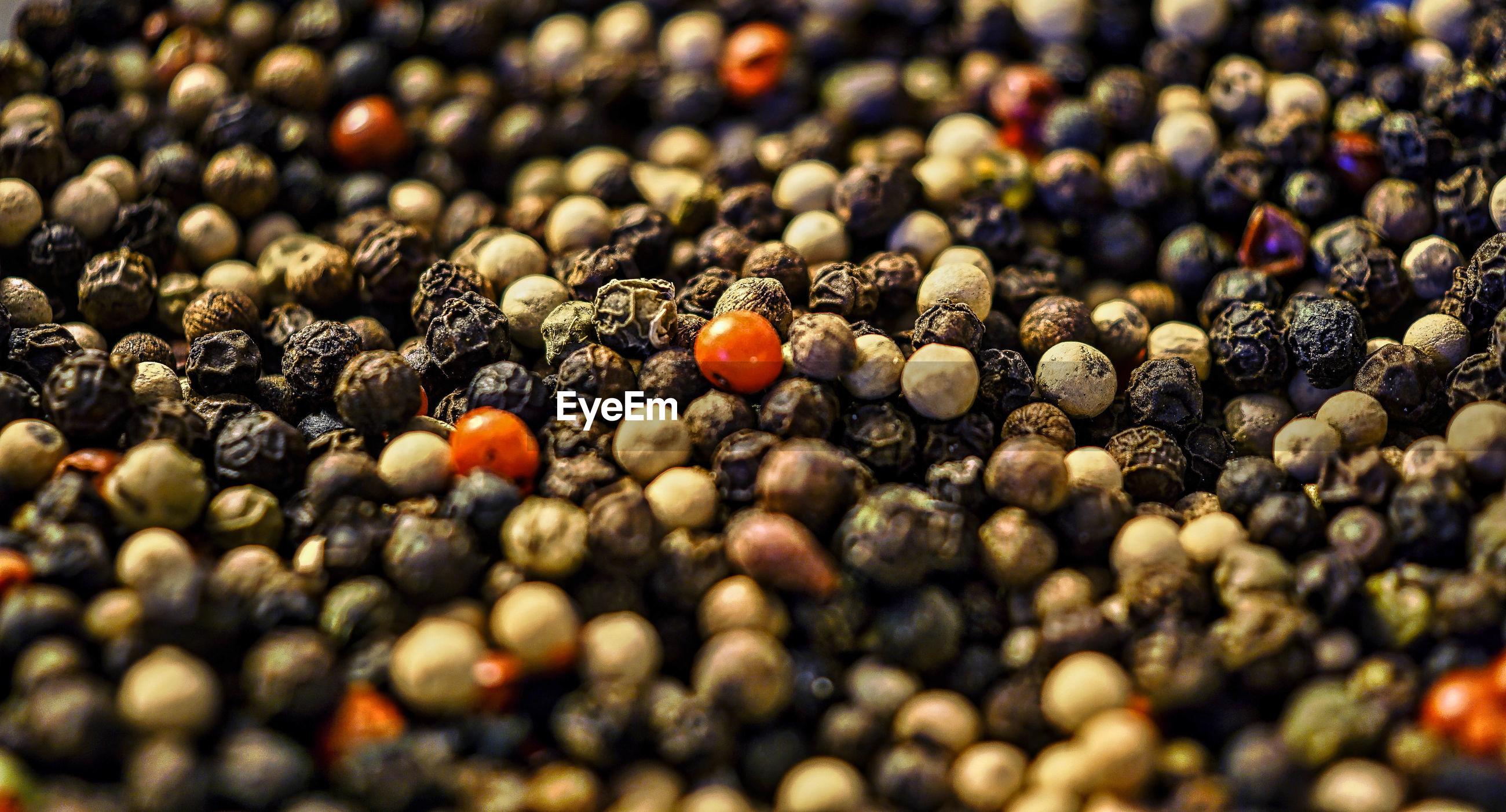 Full frame shot of black peppercorn