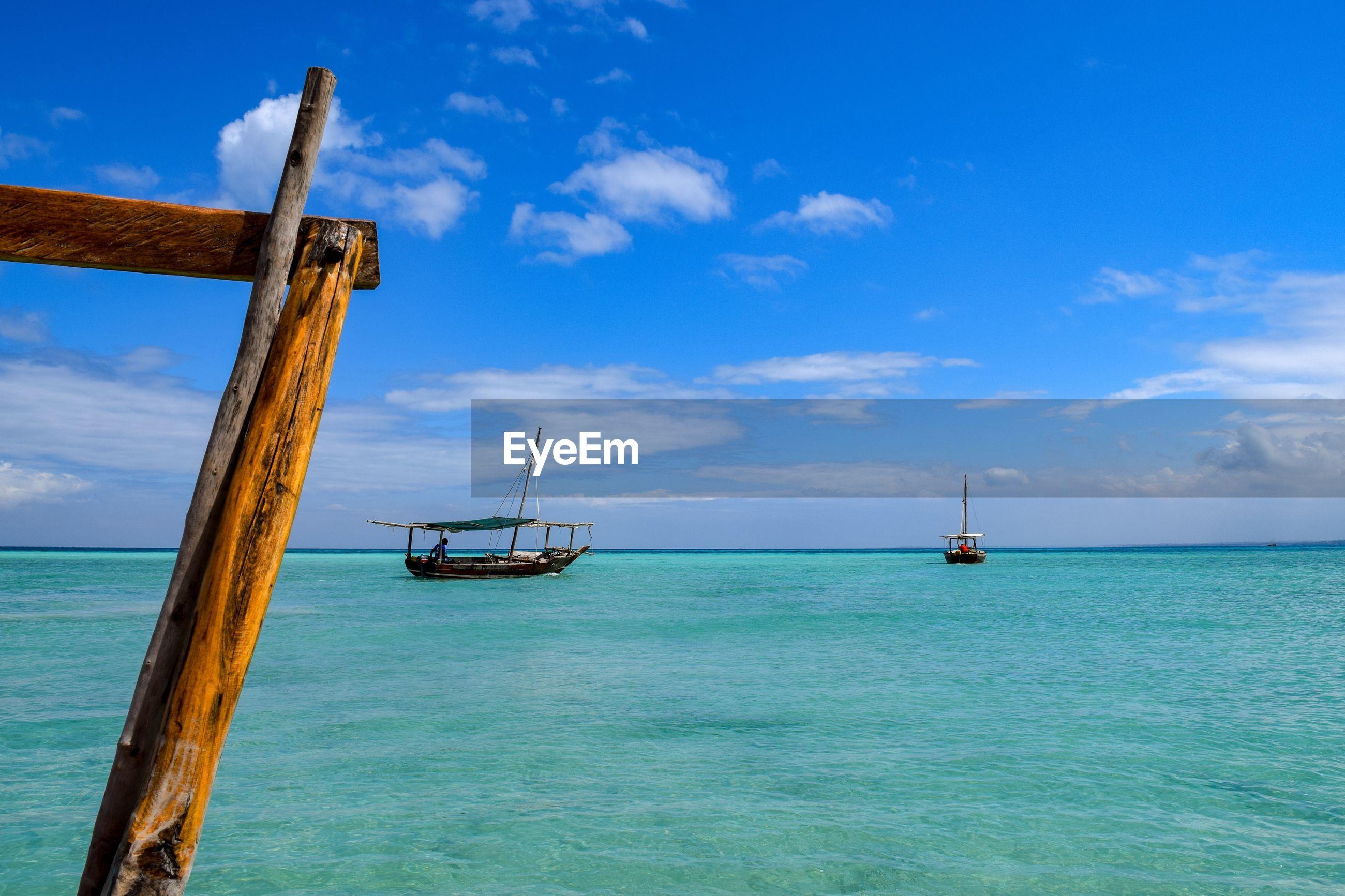 NAUTICAL VESSEL ON SEA AGAINST BLUE SKY