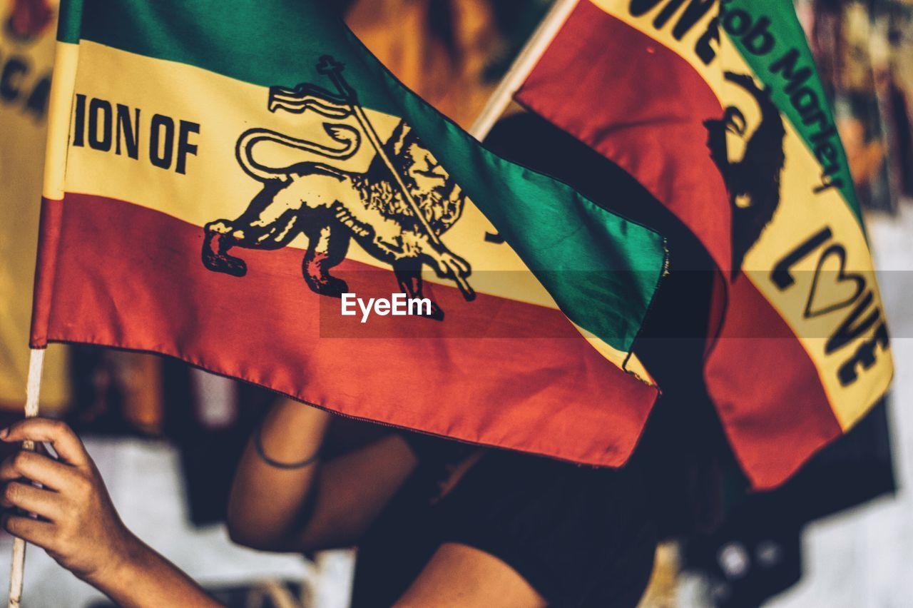 Woman Holding Rastafarian Flag