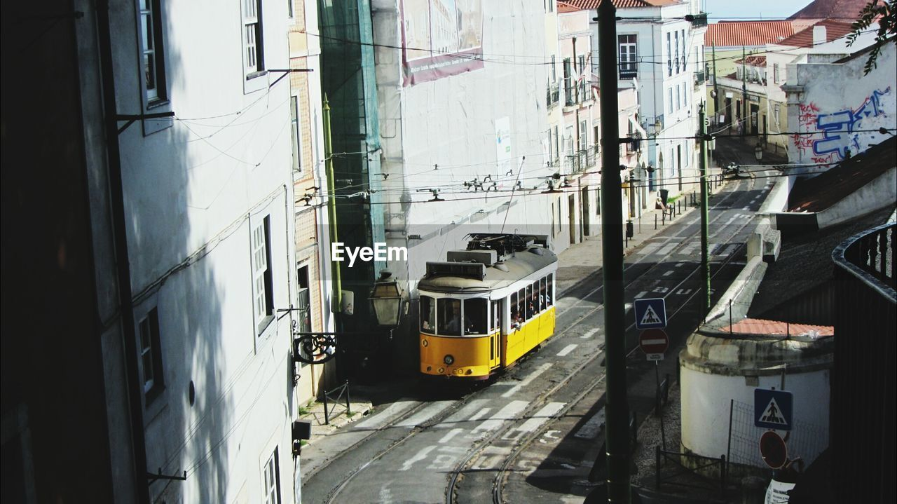 High Angle View Of Tram In City